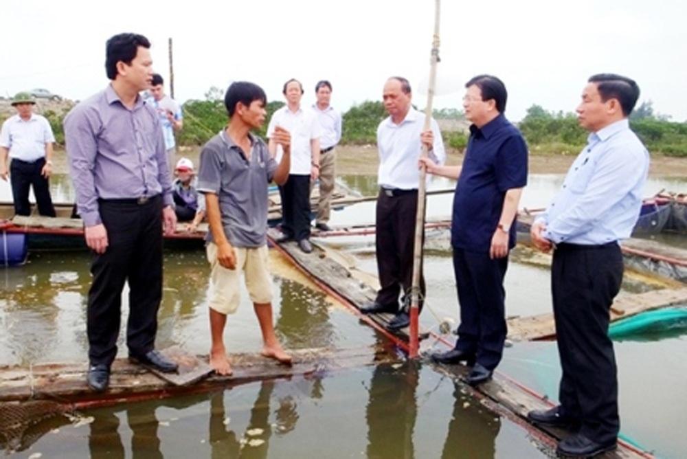 Ngày 24/4/2016, Phó Thủ tướng Trịnh Đình Dũng và Thứ trưởng Bộ NN & PTNT Vũ Văn Tám đã trực tiếp đi khảo sát tại Kỳ Anh liên quan đến hiện tượng cá chết hàng loạt và yêu cầu các Bộ, ngành khẩn trương truy tìm nguyên nhân (ảnh: Xuân Sinh).