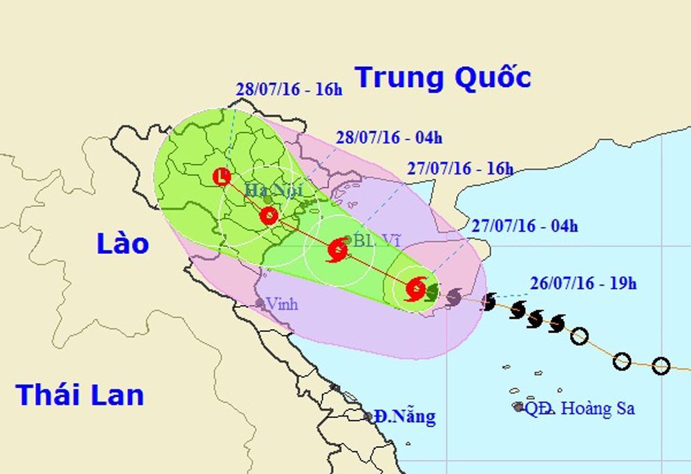 Vị trí và hướng di chuyển của cơn bão số 1 (Ảnh: TTDBKTTVTƯ).