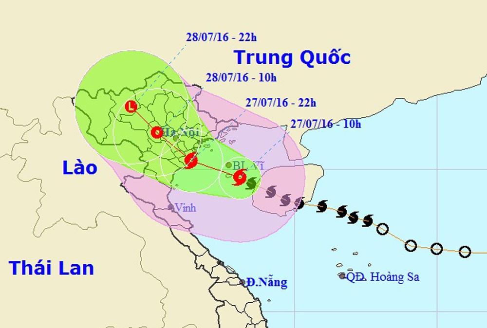 Vị trí và hướng đi của bão số 1 (Ảnh: TTDBKTTVTƯ).