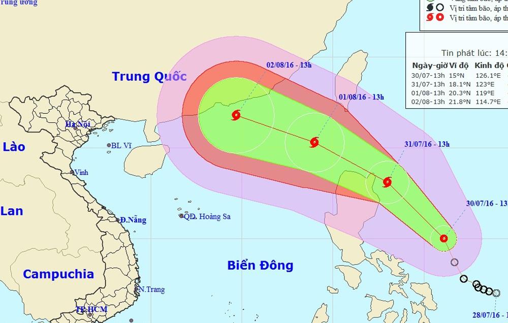 Vị trí và hướng di chuyển của áp thấp nhiệt đới (Ảnh: TTDBKTTVTƯ).