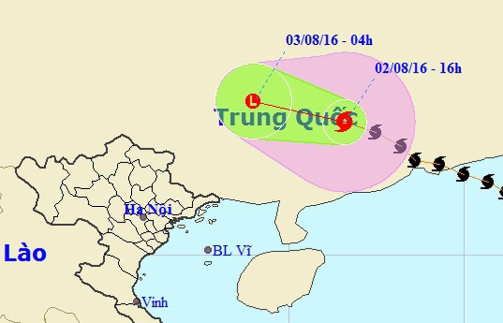 Bão số 2 đang tiếp tục đi sâu vào đất liền Trung Quốc và có xu hướng suy yếu thành áp thấp nhiệt đới (Ảnh: NCHMF).