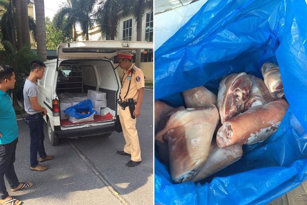 25 thùng carton chứa chân giò lợn bốc mùi khó chịu bị lực lượng chức năng bắt giữ.