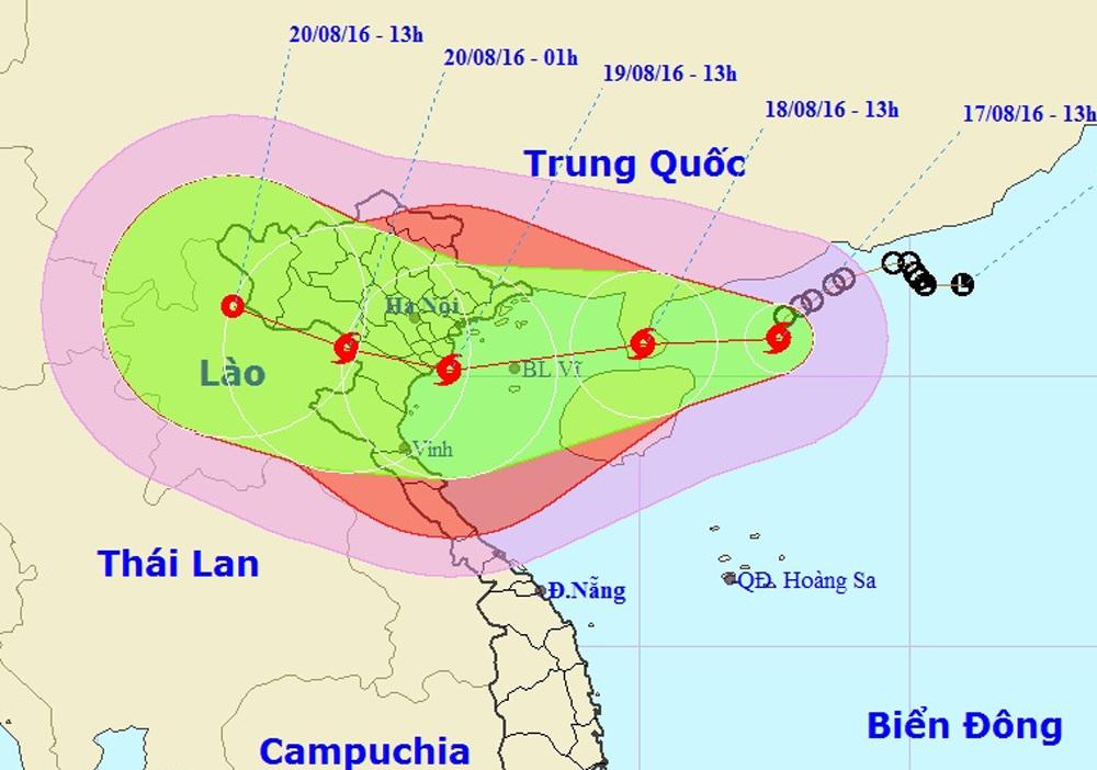 Vị trí và hướng di chuyển của bão số 3 (Ảnh: Trung tâm Dự báo Khí tượng Thủy văn Trung ương).