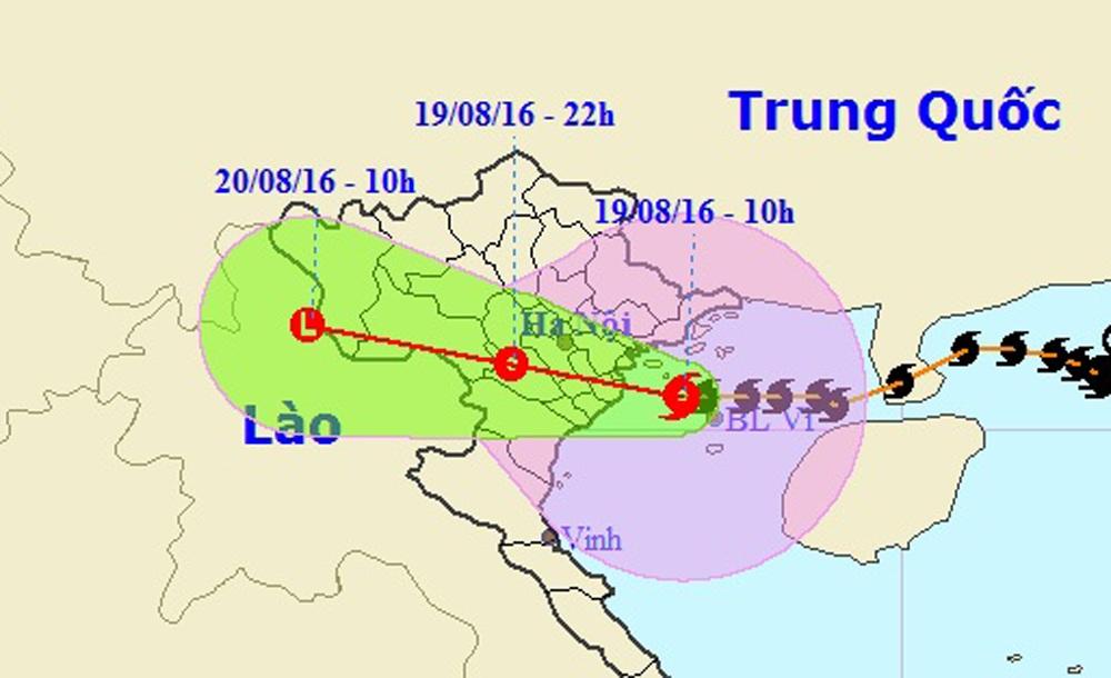 Vị trí và hướng di chuyển của bão số 3 (Ảnh: NCHMF).