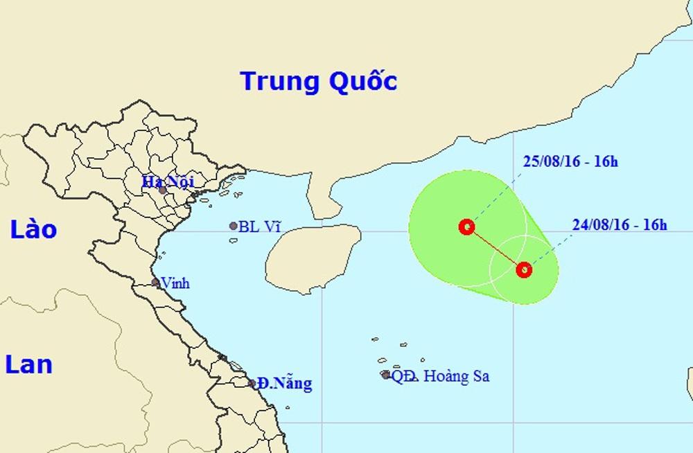 Vị trí và hướng di chuyển của áp thấp nhiệt đới (Ảnh: Trung tâm Dự báo Khí tượng Thủy văn Trung ương).