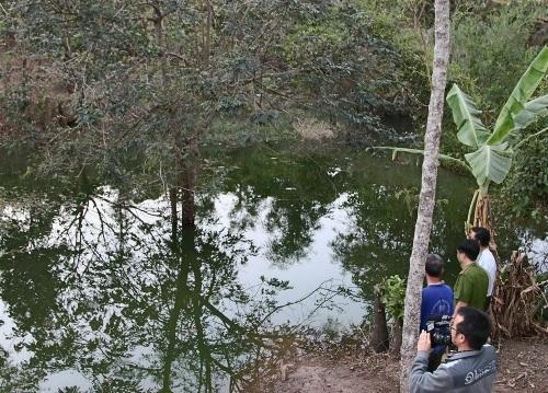 Khu vực hồ thủy lợi nơi 3 học sinh tử nạn