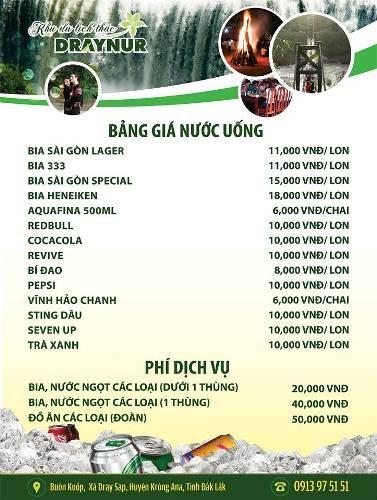 Bảng giá nước uống và phí dịch vụ của KDL thác Drây Nur