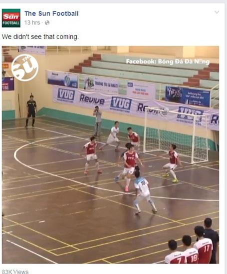 Tờ The Sun đăng tải clip bàn thắng của Phan Hùng