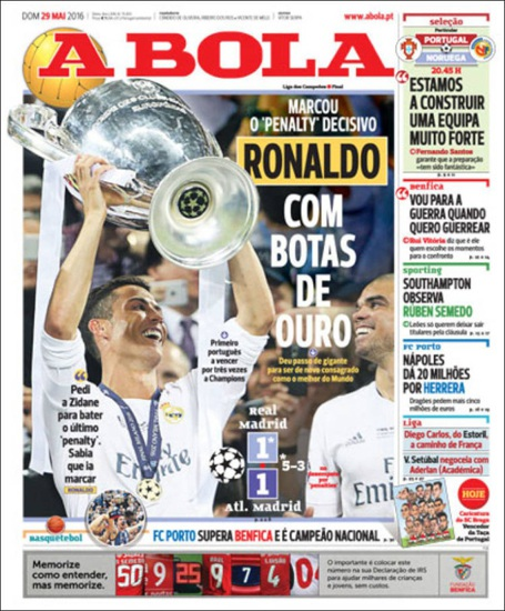 Tờ A Bola (Bồ Đào Nha) ngợi ca C.Ronaldo