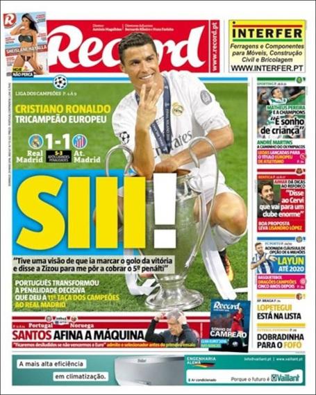 Tờ Record (Bồ Đào Nha) chế giễu Messi bằng dòng tít: Siii!