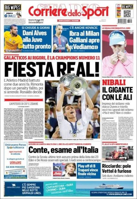 Tờ Corriere dello Sport (Italia) giật tít: Bữa tiệc của Real Madrid