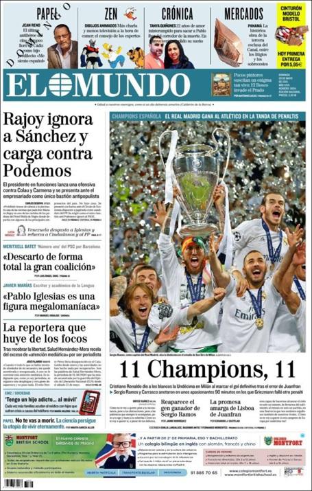 11 Champions, 11, đó là dòng tít trên tờ El Mundo (Tây Ban Nha)
