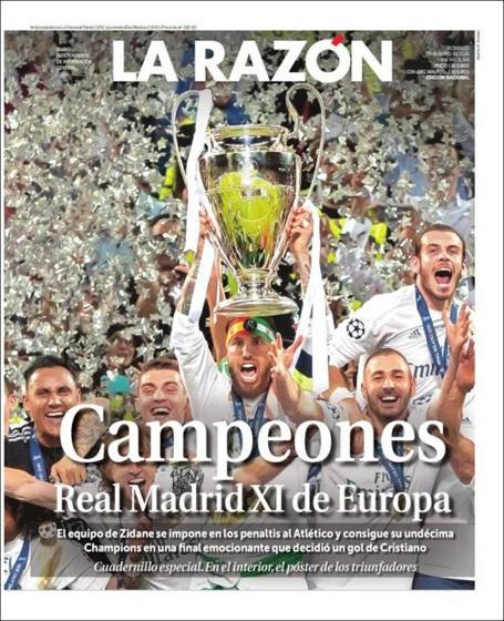 Tờ La Razon (Tây Ban Nha) dành trọn trang nhất để đăng hình ảnh giương cúp vô địch của Real Madrid