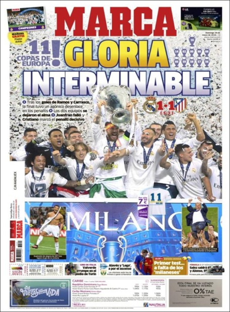 Tờ Marca (Tây Ban Nha) giật tít: Vinh quang bất tận