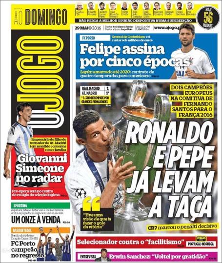 Tờ OJogo (Bồ Đào Nha) ca ngợi hai người đồng hương C.Ronaldo và Pepe