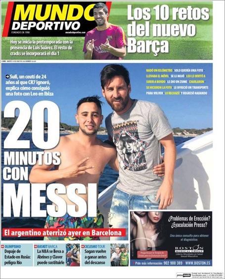 Tờ Mundo Deportivo đăng tin về fan cuồng bơi 1km ra gặp gỡ Messi
