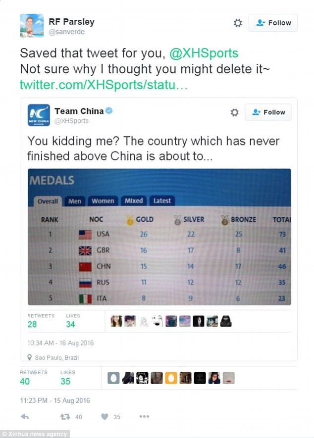 Dòng tweet của Tân Hoa Xã trước đó chế giễu người Anh