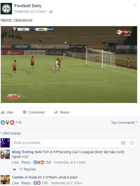 Trang Football Daily ca ngợi pha cứu bóng của Nguyễn Tài Lộc