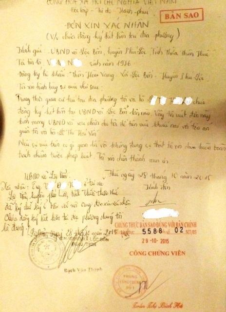 Xác nhận của UBND xã Lộc Bổn về việc anh V.Đ.N vẫn còn độc thân
