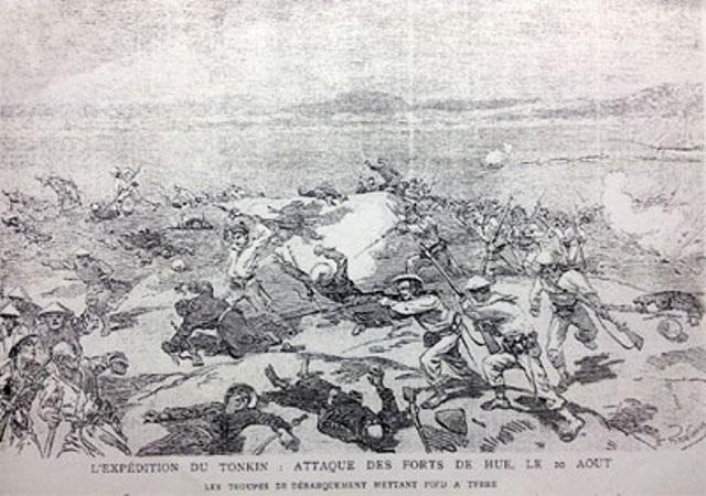 Quân Pháp đánh chiếm Kinh thành Huế năm 1885 (tranh tư liệu của Pháp, nguồn internet)