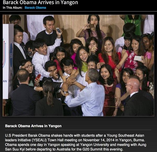 Hình ảnh lúc Tổng thống Obama bắt tay đoàn của Chí Long đã được trang AFP đăng tải