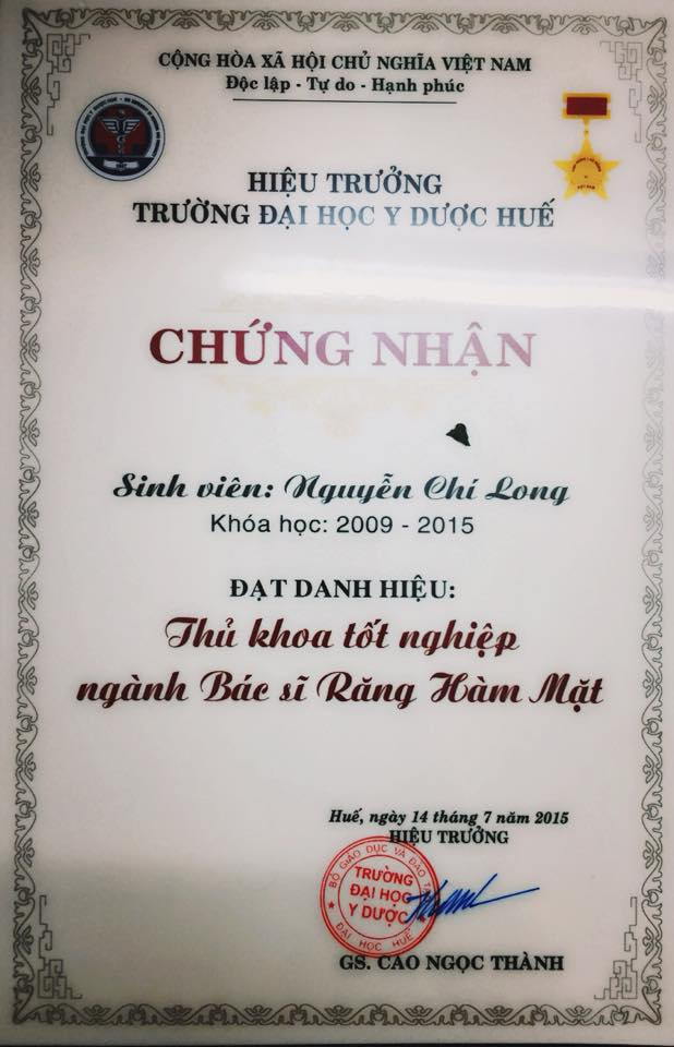 Danh hiệu tốt nghiệp Thủ khoa mà Chí Long vừa xuất sắc đạt được