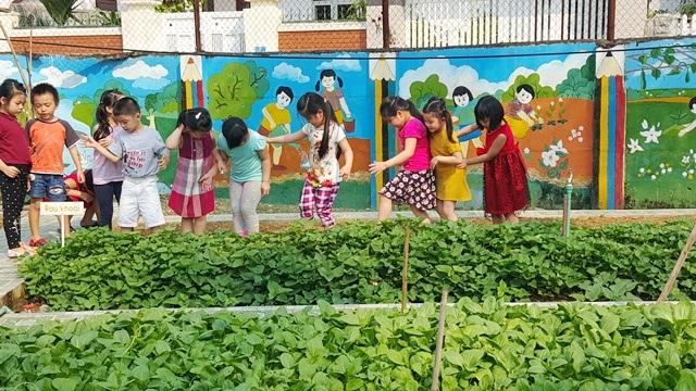 Nhiều học sinh ra chơi ở vườn rau giờ nghỉ