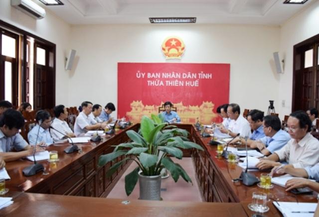 UBND tỉnh Thừa Thiên Huế họp triển khai nhiệm vụ của Hội đồng đánh giá thiệt hại sự cố môi trường biển trên địa bàn tỉnh (ảnh: Công thông tin điện tử UBND tỉnh Thừa Thiên Huế)