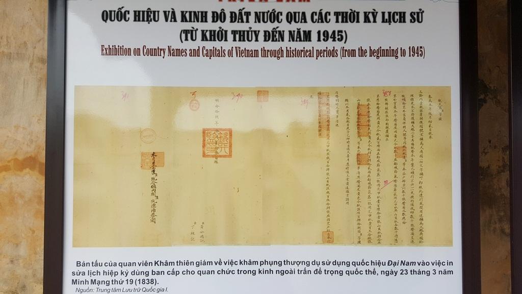 Tấm châu bản (bản in) về bản tấu của quan viên Khâm thiên giám về việc khâm phụng thượng dụ sử dụng quốc hiệu Đại Nam vào việc in sửa lịch hiệp kỷ dùng ban cấp cho quan chức trong kinh ngoài trấn để trọng quốc thể, ngày 23 tháng 3 năm Minh Mạng thứ 19 (1838)