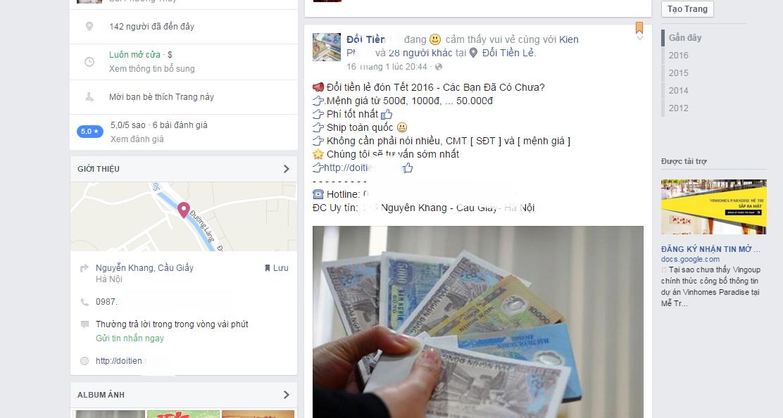 Một trang fanpage trên Facebook chuyên đổi tiền lẻ