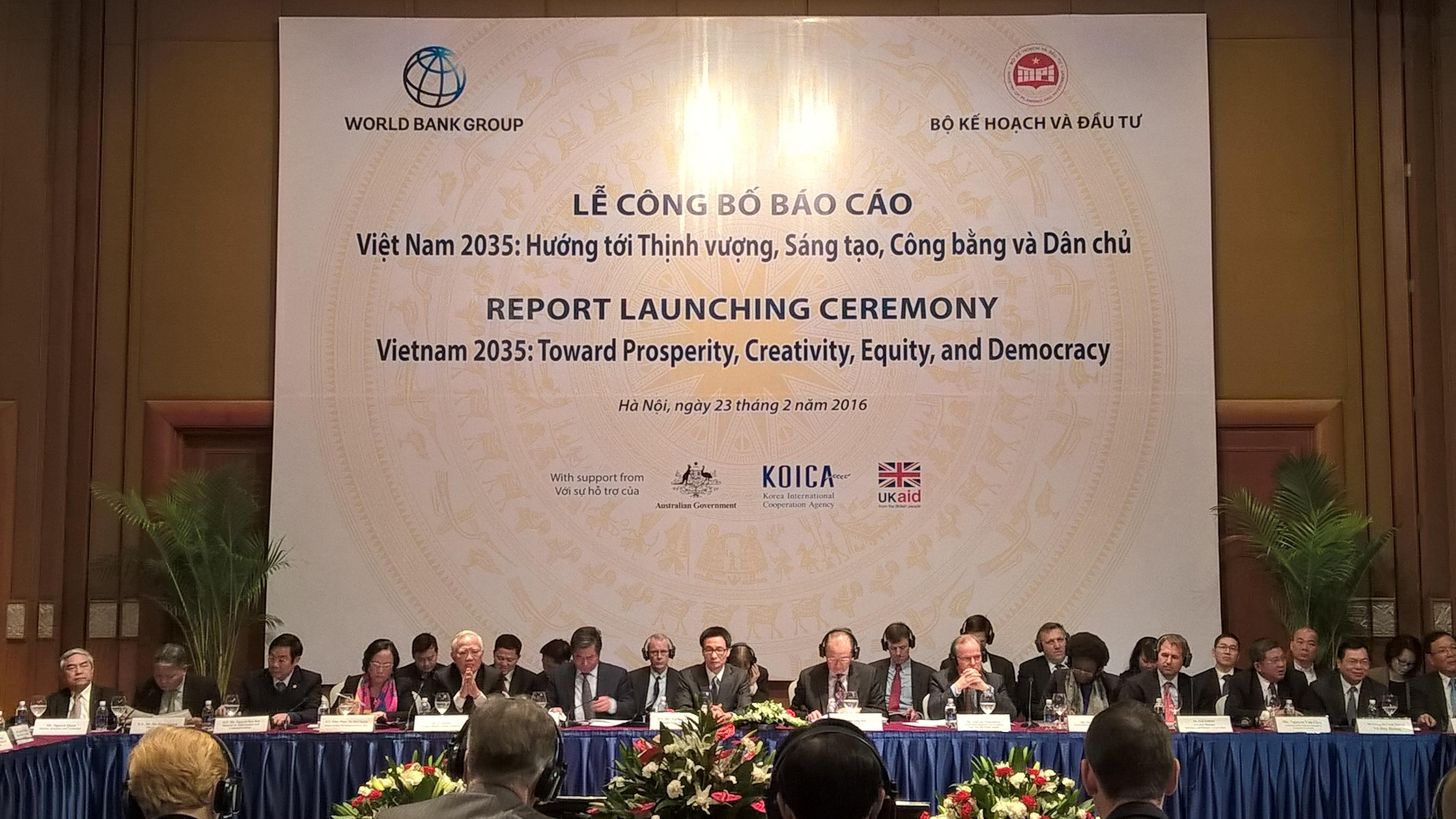 Báo cáo Việt Nam 2035 - Hướng tới Thịnh Vượng, Sáng tạo, Công bằng và Dân chủ của Ngân hàng Thế giới được công bố sáng nay 23/2 đã đưa ra nhiều dự đoán và con số ấn tượng dành cho nền kinh tế Việt Nam