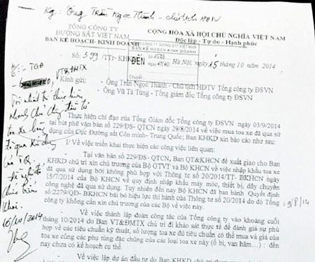 Văn bản có bút phê của lãnh đạo Tổng Công ty ĐSVN đồng ý chủ trương mua tàu cũ của Trung Quốc