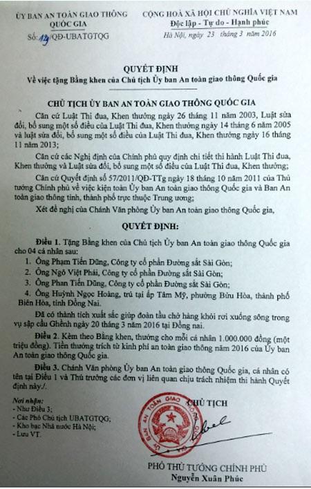 Quyết định khen thưởng của Phó Thủ tướng Nguyễn Xuân Phúc