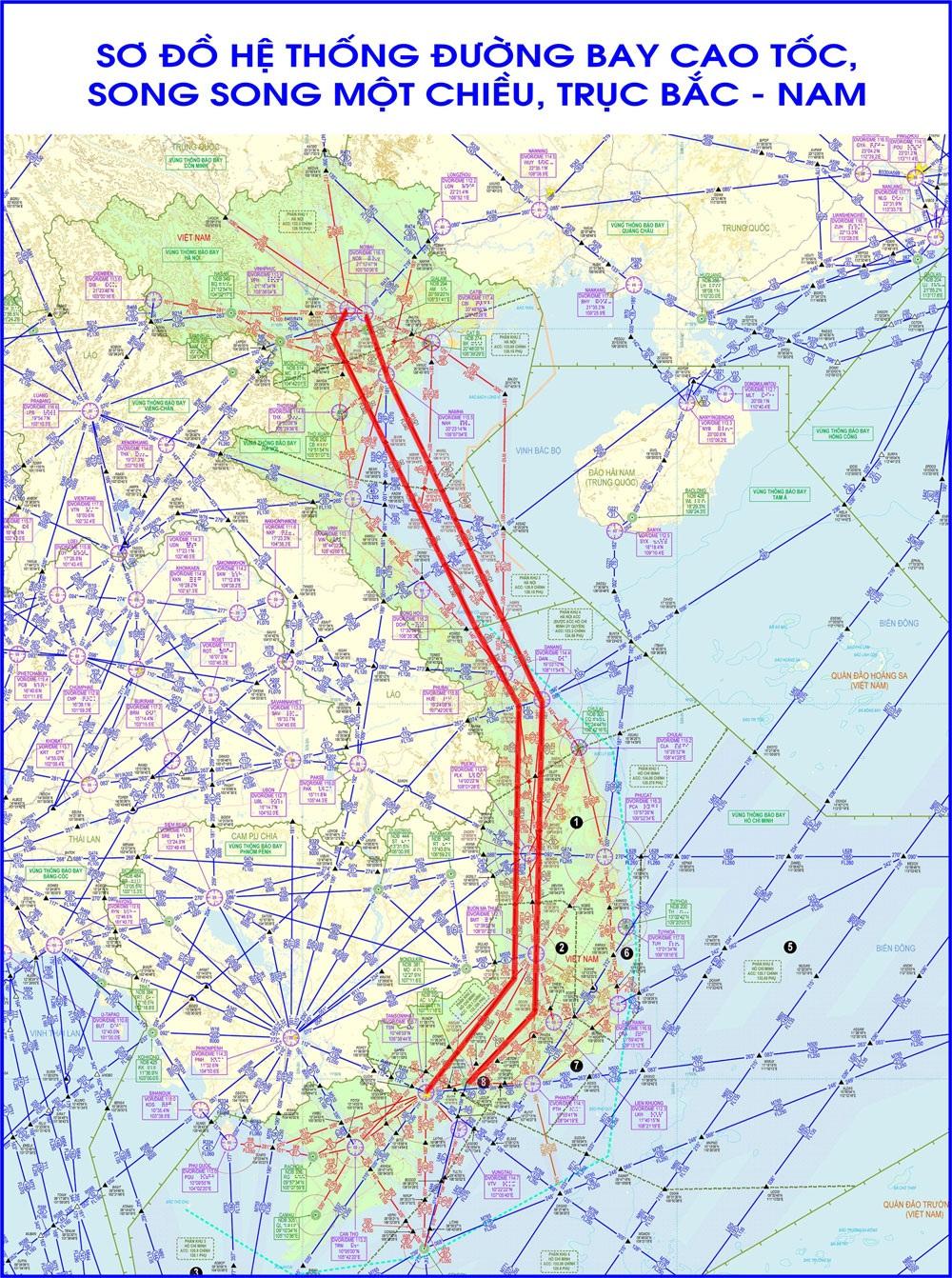 Sơ đồ đường bay cao tốc đầu tiên tại Việt Nam, song song 2 chiều Bắc - Nam