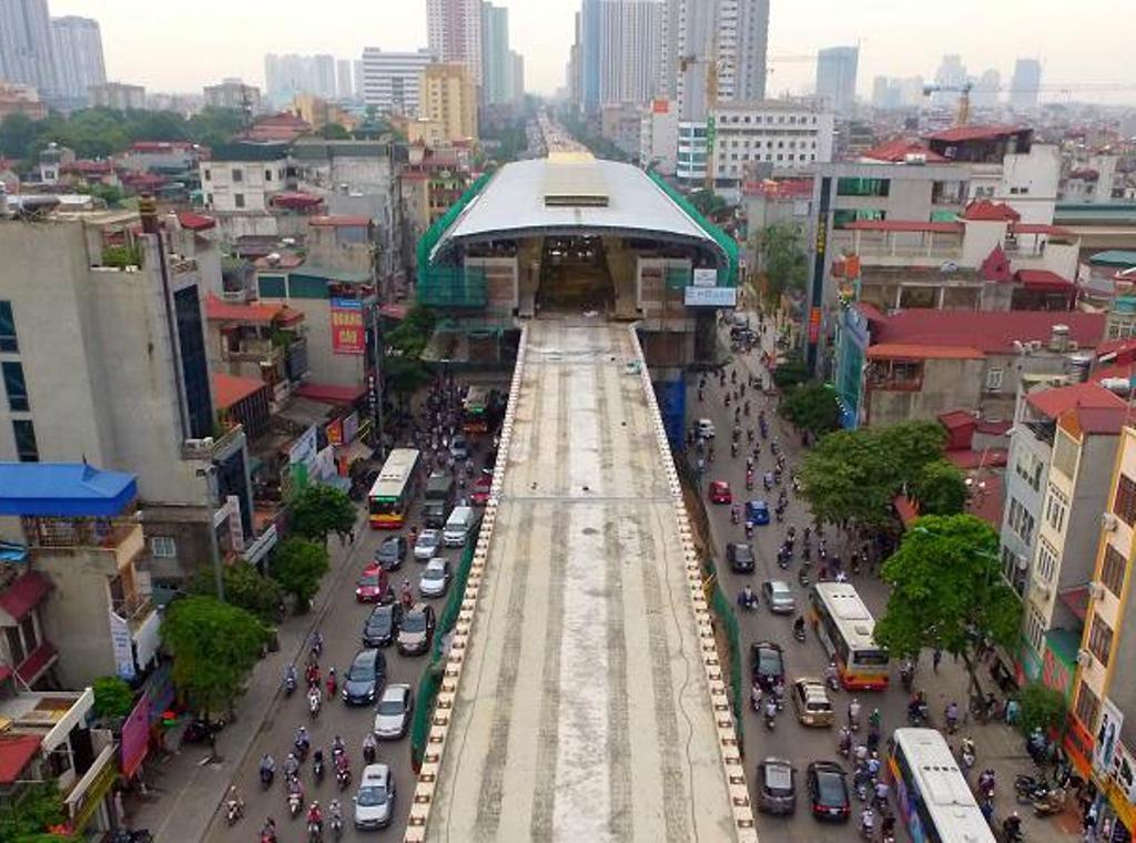 Dự án đường sắt trên cao Cát Linh - Hà Đông bị chậm tiến độ do thiếu vốn (ảnh: Hà Trang)