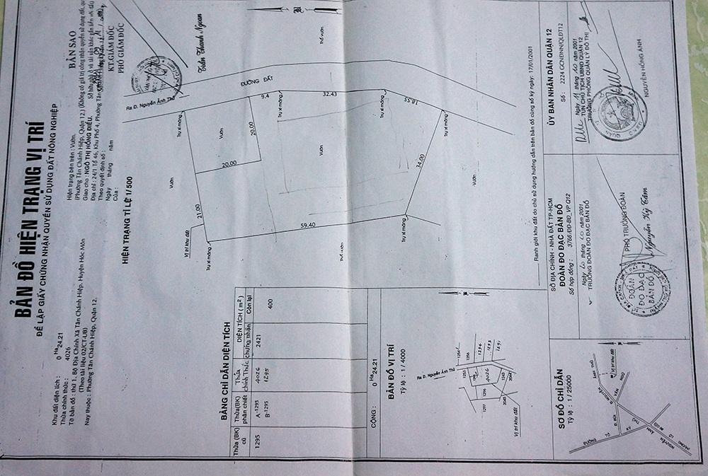 Bản đồ hiện trạng vị trí thể hiện hẻm 203 là phần đất hợp pháp của ông Duy