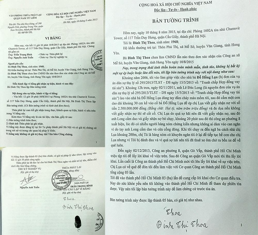 Vi bằng và bản tường trình của bà Đinh Thị Thoa khẳng định đã chứng kiến việc ông Long dùng dao khống chế bà Lụa buộc viết giấy nợ 2,5 tỷ đồng