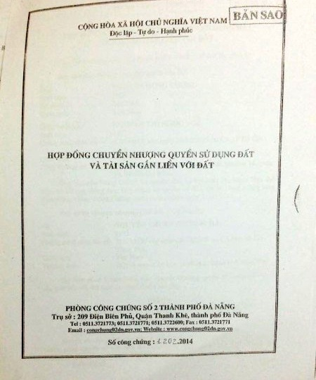 Bản án sơ thẩm của TAND TP. Đà Nẵng cho rằng đồng chuyển nhượng QSDĐ số 1202.2014 do phòng công chứng số 2 Đà Nẵng lập không có tác dụng