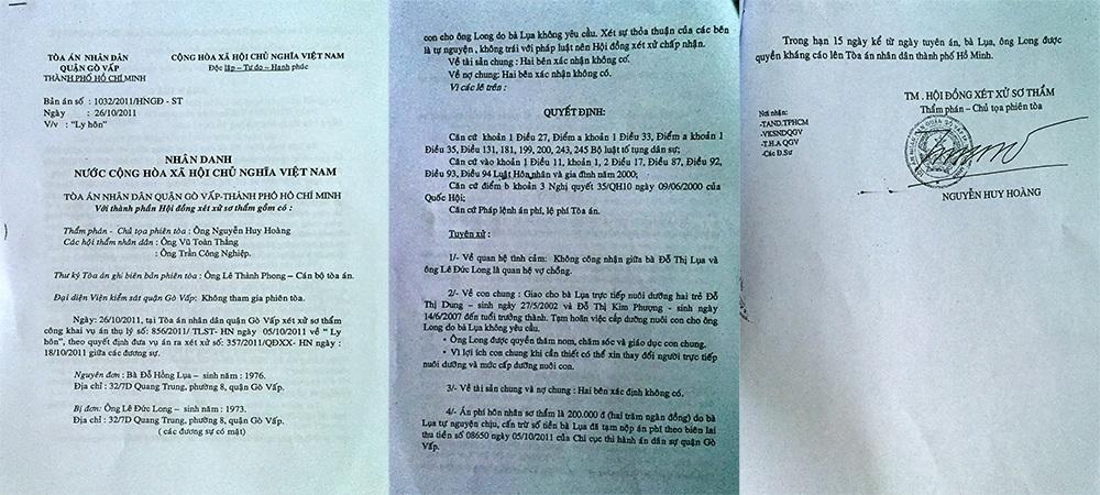 Tại Bản án số 1032/2011/HNGĐ-ST ngày 26/10/2011 đã công nhận ông Lê Đức Long và bà Đỗ Hồng Lụa không phải là vợ chồng, tài sản chung và nợ chung hai bên xác định không có nhưng sau đó vài năm ông Long lại đem đến tòa tờ giấy nhận nợ 2,5 tỷ đồng để kiện bà Lụa