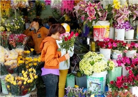Thị trường hoa tươi phục vụ cho ngày 8/3 ở Cần Thơ đã tăng giá