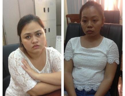 Hai đối tượng Huỳnh Hạ Bình (26 tuổi); Huỳnh Hạ Uyển (24 tuổi) tại cơ quan điều tra