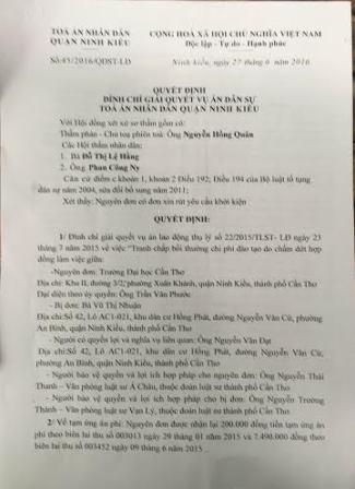 Quyết định đình chỉ vụ án dân sự của TAND quận Ninh Kiều (Cần Thơ).