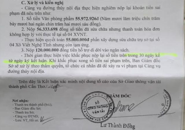 Kết luận của giám đốc sở GTVT Cần Thơ về các sai phạm xảy ra tại cảng vụ đường thủy Cần Thơ