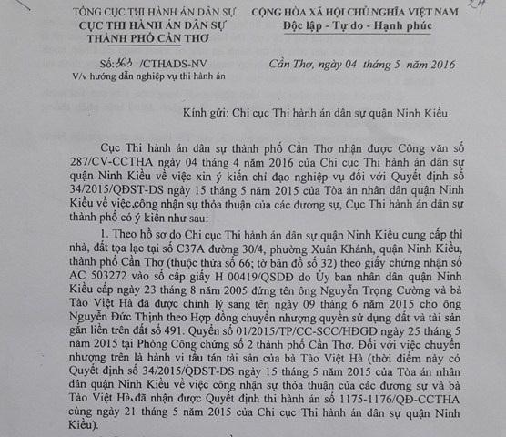 Văn bản của Cục Thi hành án dân sự TP Cần Thơ khẳng định việc chuyển nhượng của bà Tào Việt Hà là hành vi tẩu tán tài sản