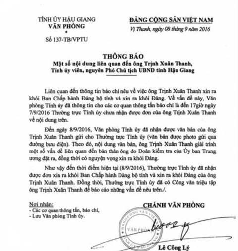 Hậu Giang triệu tập ông Trịnh Xuân Thanh - 1