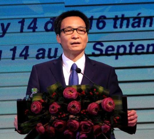Phó Thủ tướng Vũ Đức Đam, phát biểu tại Hội nghị Việt - Pháp diễn ra tại Cần Thơ sáng nay 14/9