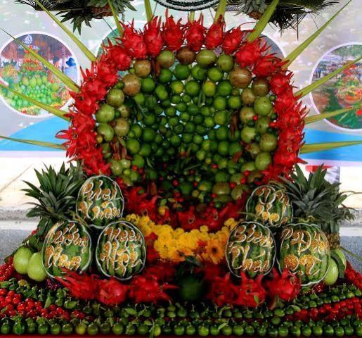 Lễ hội  thu hút nhiều đơn vị tham gia, có nhiều mô hình trái cây rất bắt mắt.