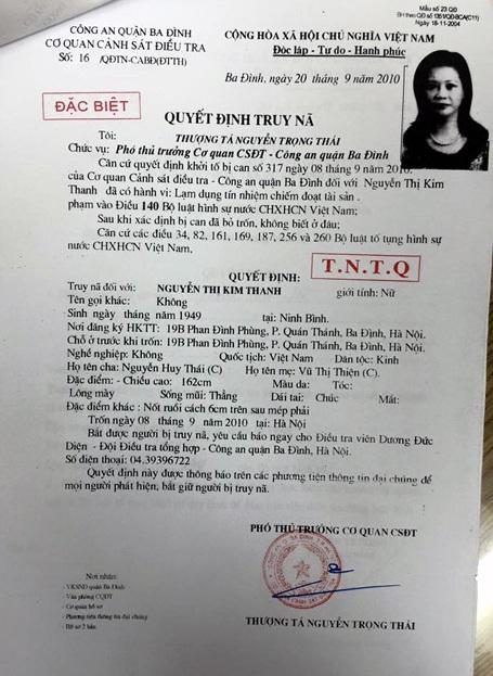 Quyết định truy nã đặc biệt Nguyễn Thị Kim Thanh.