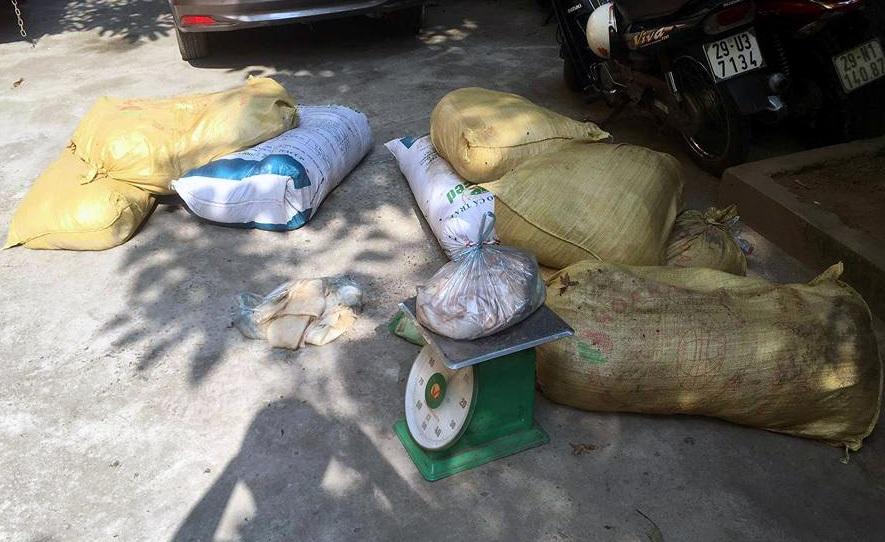 Số thịt bốc mùi hôi thối được vận chuyển bằng xe khách.