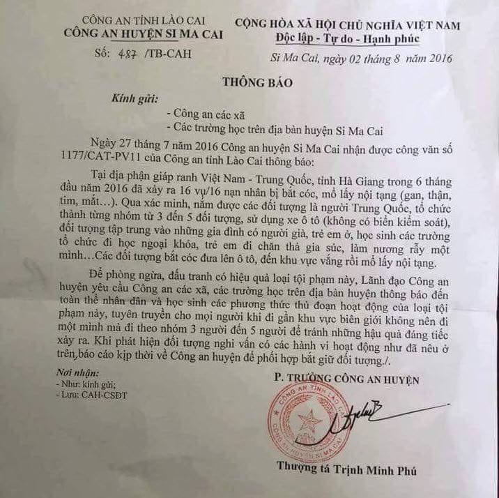 Thông báo của CAH Si Ma Cai (Lào Cai) khiến dư luận xôn xao.